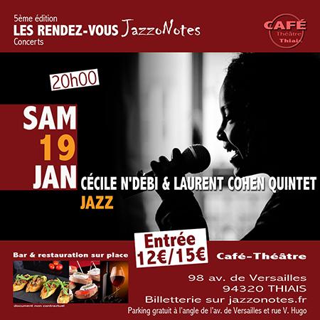 Image : Cécile N'Débi et Laurent Cohen Quintet