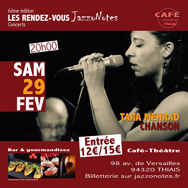 Achetez vos places : Tara Mehrad - Concert du Samedi 29 Février 2020
